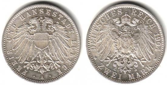 Lübeck - J 81 - 1904 A - Stadtwappen - 2 Mark - vz-st in NGC-Slab