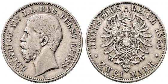 Reuß, jüngere Linie - J 120 - 1884 A - Heinrich XIV. (1867 - 1913) - 2 Mark - gutes vz