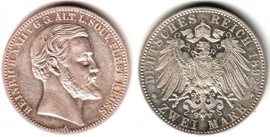 Reuß, ältere Linie - J 117 - 1892 A - Heinrich XXII. (1867 - 1902) - Regierungsjubiläum - 2 Mark - vz-st - MS 61 - in NGC-Slab