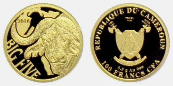 Kongo / Kamerun - 2016 - Büffel - aus der Serie The Big Five - 100 Francs - PP