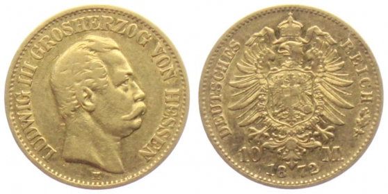 Hessen - J 213 - 1872 H - Ludwig III. (1848 - 1877) - 10 Mark ss-vz