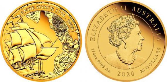 Australien - 2020 - Segelschiff Endeavour - Voyage of Discovery - 25 Dollars - 1/4 Unze - PP