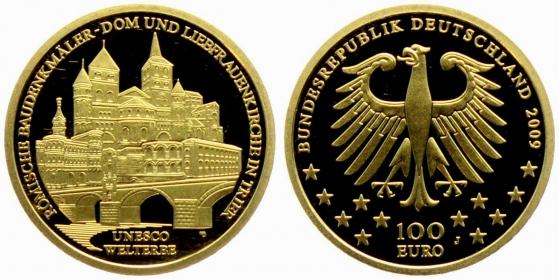 Deutschland - 2009 J - UNESCO-Weltkulturerbe - Trier - Dom und Liebfrauenkirche 100 Euro - 1/2 Unze - st