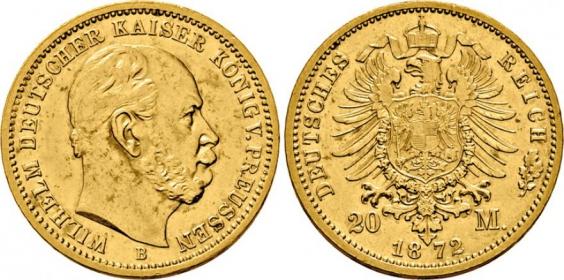 Preussen - J 243 - 1872 B - Kaiser Wilhelm I. (1861 - 1888) - 20 Mark - vz-st min. RF