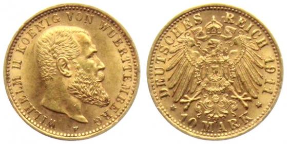 Württemberg - J 295 - 1911 F - Wilhelm II. (1891 - 1918) - 10 Mark vz-st