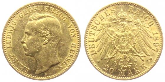 Hessen - J 225 - 1897 A - 20 Mark - Ernst Ludwig (1892 - 1918) - ss+ min. RF