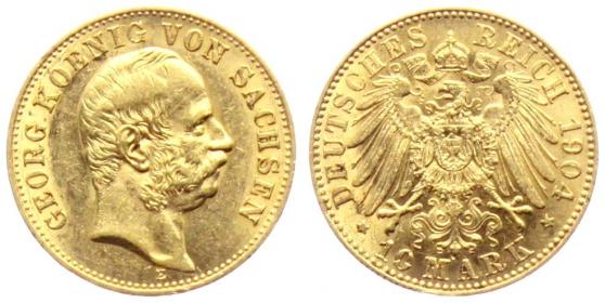 Sachsen - J 265 - 1904 E - Georg (1902 - 1904) - 10 Mark - vz