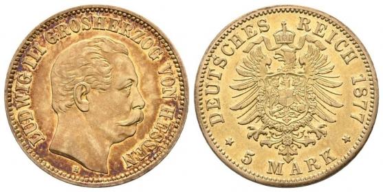 Hessen - J 215 - 1877 H - Ludwig III. (1848 - 1877) - 5 Mark vz