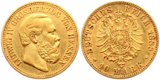 Hessen - J 219 - 1888 A - Ludwig IV. (1877 - 1892) - 10 Mark ss-vz