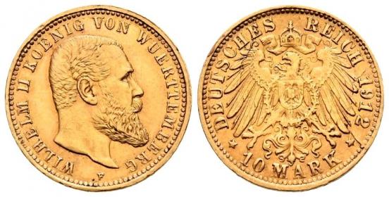 Württemberg - J 295 - 1912 F - Wilhelm II. (1891 - 1918) - 10 Mark - f.vz - SF