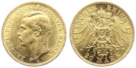 Hessen - J 225 - 1900 A - Ernst Ludwig (1892 - 1918) - 20 Mark vz-st min. RF