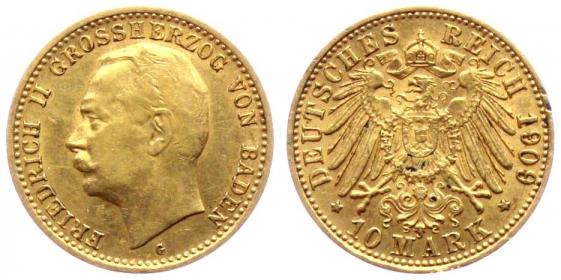 Baden - J 191 - 1909 G - Friedrich II. (1907 - 1918) - 10 Mark - vz-st min. RF