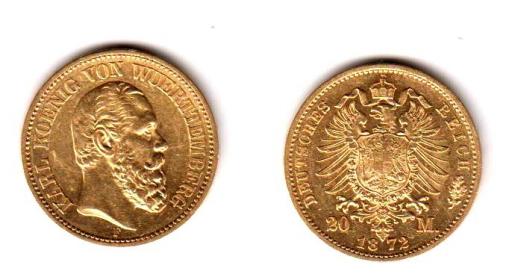 Württemberg - J 290 - 1872 F - Karl (1864 - 1891) - 20 Mark vz-st