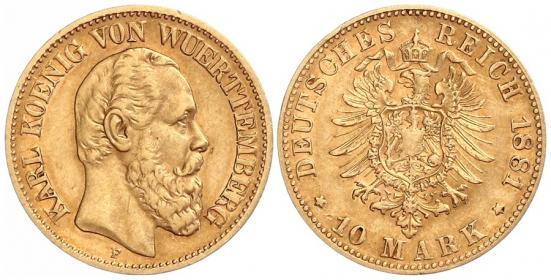 Württemberg - J 292 - 1881 F - Karl (1864 - 1891) - 10 Mark - ss-vz