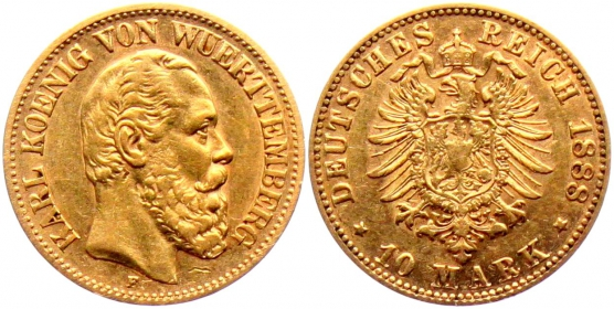 Württemberg - J 292 - 1888 F - Karl (1864 - 1891) - 10 Mark - ss