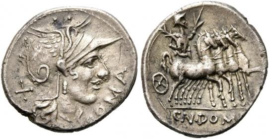 Römische Republik - Cn Domitius Ahenobarbus (122 - 89 v. Chr.) - Denar - f.vz