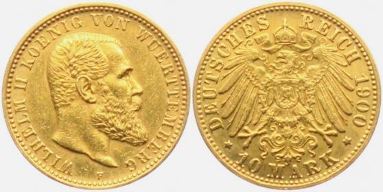 Württemberg - J 295 - 1900 F - Wilhelm II. (1891 - 1918) - 10 Mark vz