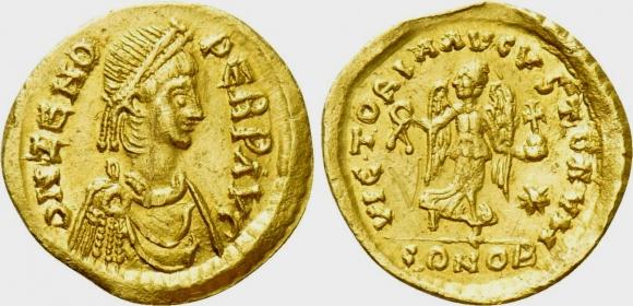 Römische Kaiserzeit - Tremissis - Zeno (474 - 491) 2. Regierungszeit AU (vz)