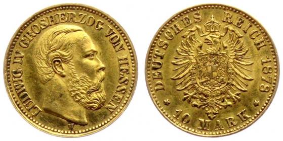 Hessen-Darmstadt - J 219 - 1878 H - Ludwig IV. (1877 - 1892) - 10 Mark vz-st Kratzer - in NGC-Slab