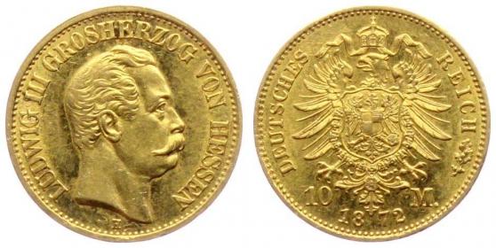 Hessen-Darmstadt - J 213 - 1872 H - Ludwig III. (1848 - 1877) - 10 Mark AU 58 (vz+) - in NGC-Slab