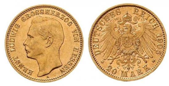 Hessen-Darmstadt - J 226 - 1905 A - Ernst Ludwig (1892 - 1918) - 20 Mark - MS 61 (vz-st) - in NGC-Slab