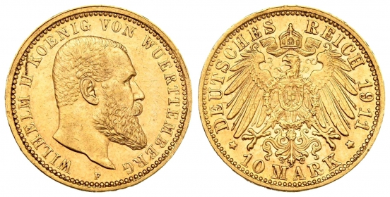 Württemberg - J 295 - 1911 F - Wilhelm II. (1891 - 1918) - 10 Mark vz