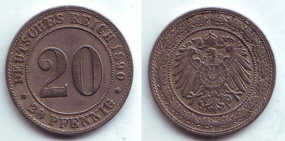 Kaiserreich - J 14 - 1890 F - 20 Pfennig - großer Adler - VZ