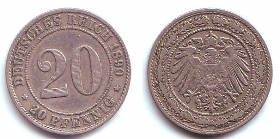 Kaiserreich - J 14 - 1890 G - 20 Pfennig - großer Adler - ss-vz