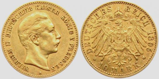 Preussen - J 251 - 1895 A - Wilhelm II. (1888 - 1918) - 10 Mark - ss-vz