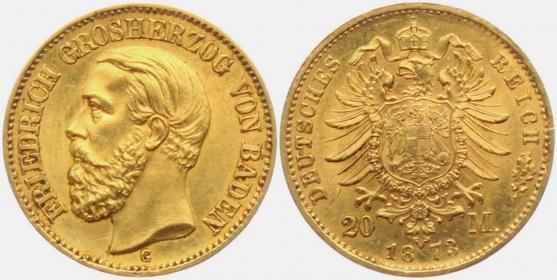 Baden - J 184 - 1873 G - Friedrich I. (1852-1907) - 20 Mark - f.st