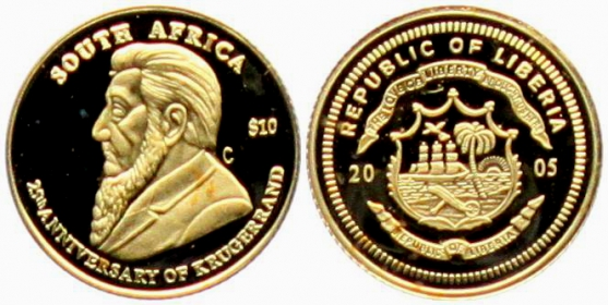 Liberia - 2005 - 25 Jahre Krüger Rand - 10 Dollars st