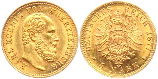 Württemberg - J 291 - 1877 F - Karl (1864 - 1891) - 5 Mark - MS 62 (vz-st) - in NGC-Slab