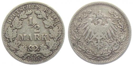 Kaiserreich - J 16 - 1905 A - 1/2 Mark - s-ss