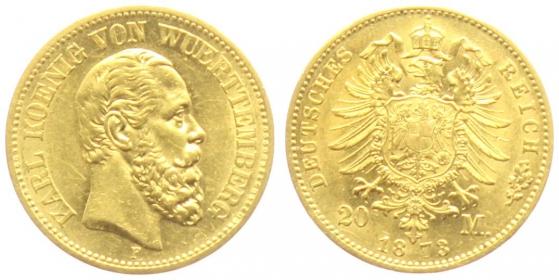 Württemberg - J 290 - 1873 F - Karl (1864 - 1891) - 20 Mark - vz+