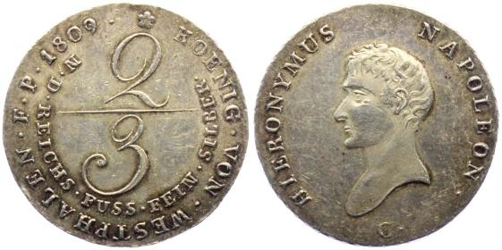 Königreich Westfalen - 1809 C - Hieronimus Napoleon (1807 - 1813) - 2/3 Taler - f.vz