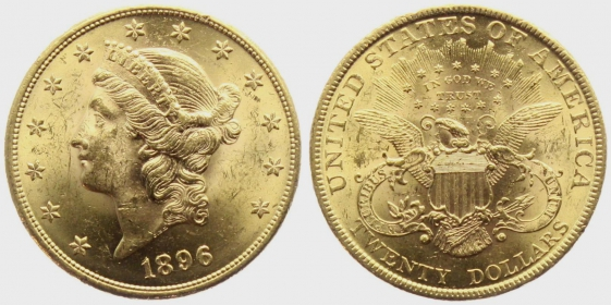 USA - 1896 - Liberty Head (1866 - 1908) - 20 Dollars - vz min. Kr.