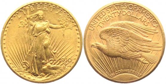 USA - 1910 S - Double Eagle - St. Gaudens Typ - 20 Dollars vz min. Kr.