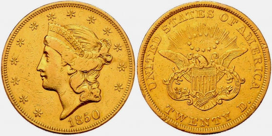 USA - 1850 - Liberty Head (1866 - 1908) - ohne Motto  - 20 Dollars - ss