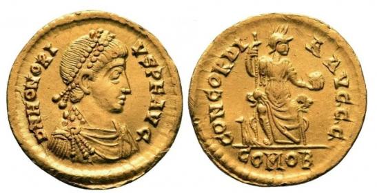 Römisches Kaiserreich - 393-395 - Kaiser Honorius (393 - 423) - Solidus - vz