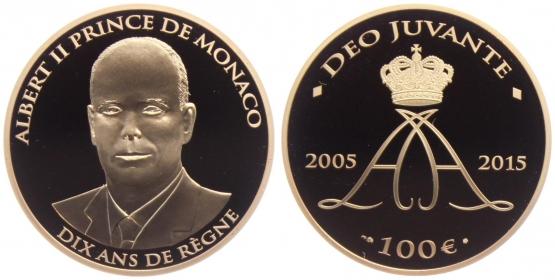 Monaco - 2015 - 10-jähriges Regierungsjubiläum von Fürst Albert - 100 Euro - PP