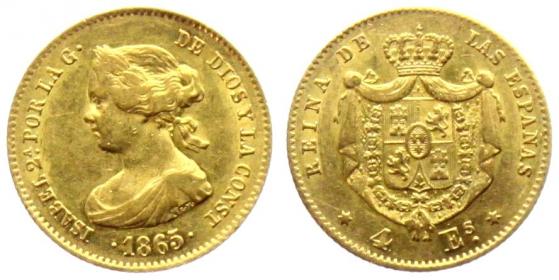 Spanien - 1865 - Isballa II. (1833 - 1868) - 4 Escudos - vz