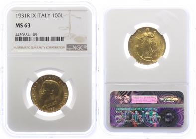 Italien - 1931 R - Vittorio Emanuele III. (1900 - 1946) - 100 Lire - vz-st - MS 63 in Slab
