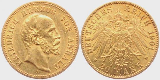 Anhalt - J 181 - 1901 A  - Friedrich (1871 - 1904) -  20 Mark - vz