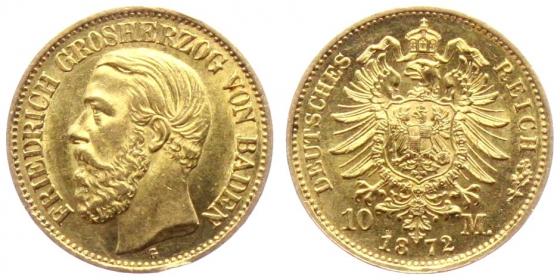 Baden - J 183 - 1872 G - Friedrich I. (1852 - 1907) - 10 Mark vz-st min. Kr.