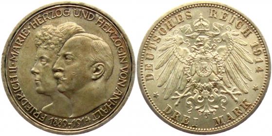 Anhalt - J 24 - 1914 A - Friedrich II. (1904 - 1918) - Silberhochzeit - 3 Mark - vz-st - Kratzer