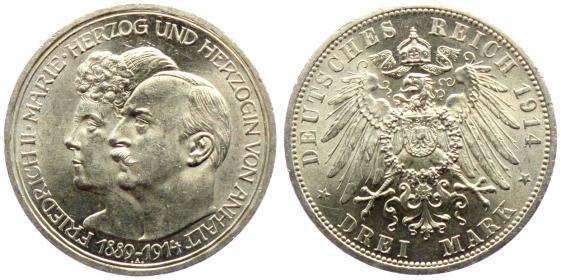 Anhalt - J 24 - 1914 A - Friedrich II. (1904 - 1918) - Silberhochzeit - 3 Mark - f.st