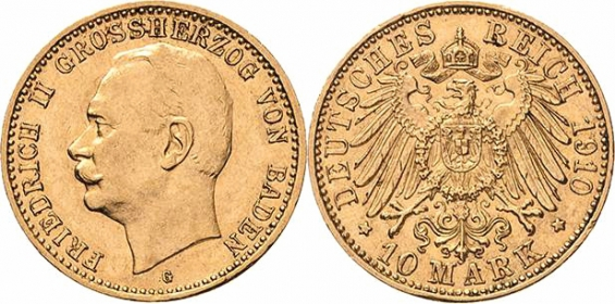 Baden - J 191 - 1910 G  - Friedrich II. (1907 - 1918) - 10 Mark - AU 53 (vz) - in NGC-Slab