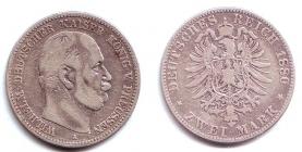 Preussen - J 96 - 1880 A - Wilhelm I. (1861 - 1888) - 2 Mark - s-ss