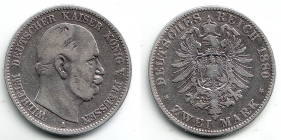 Preussen - J 96 - 1880 A - Wilhelm I. (1861 - 1888) - 2 Mark - ss