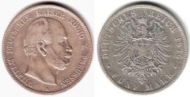 Preussen - J 97 - 1876 A - Wilhelm I. (1861 - 1888) - 5 Mark - ss+